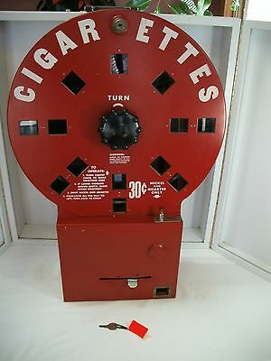 VINTAGE DIAL A SMOKE COIN OPERATED  CIGARETTE MACHINE w/key ELDE, INC. 1940's