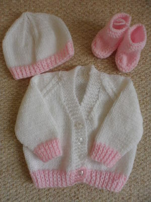 Hand Knitted Pink and White Prem/New Baby/16in chest/ Cardigan Booties and Hat