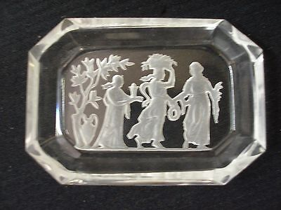 Vintage Intaglio Czech Art Glass Salt Cellar / Pin Tray Etched Maidens Goddess