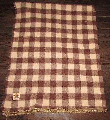 "VINTAGE PURE  AYERS   WOOL BROWN PLAID CABIN  BLANKET  50"" X 64"" approx."