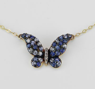 """Diamond and Sapphire Butterfly Necklace 14K Yellow Gold Pendant 17"""" Chain Unique"""