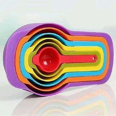 New 6pcs Nested Measuring Cup Spoons Set Colorful Baking Cooking Kitchen Tool