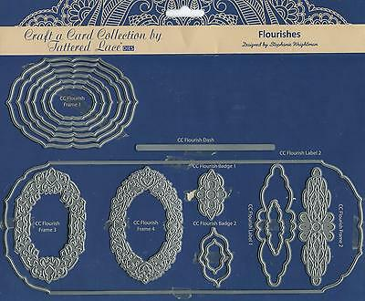 """Tattered Lace  """"flourishes"""" Craft A Card Collection Etl188 ~ 16 Dies"""