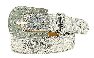 Ariat Western Girls Belt Kids Glitter Rhinestone Silver A1303036