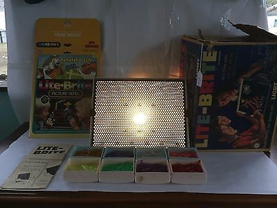 Vintage 1967 Hasbro Lite-Brite Toy W/ Original Box Tabs Instructions And Pages