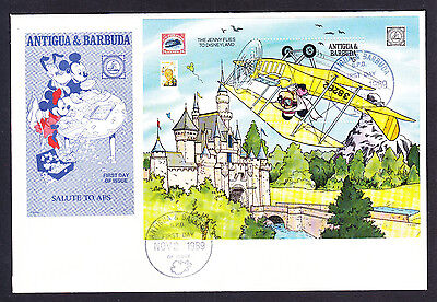 1989 Antigua & Barbuda Jenny Plane stamp sheet FDC Walt Disney 1st Day Cover