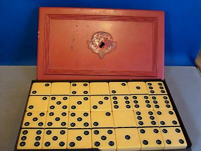 Vintage Thick BUTERSCOTC Bakelite Dominoes complete set PERFECT 4 Jewelry Making