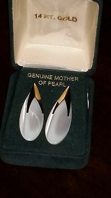 Genuine Mother of Pearl and 14K Pierced Earrings in Box