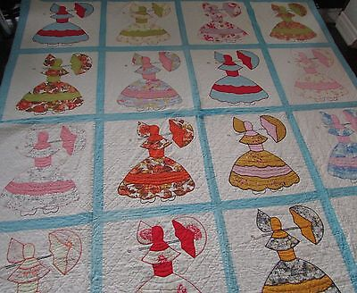 "Antique Hand Made Sunbonnet Sue  Cotton Quilt   80"" X 80"""
