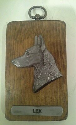 """Louise Shattuck American Pewter Co. Plaque With Sculpted Sheperd Face """"lex"""""""