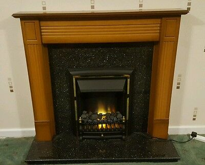 Fireplace fire surround electric fire and marble back panel