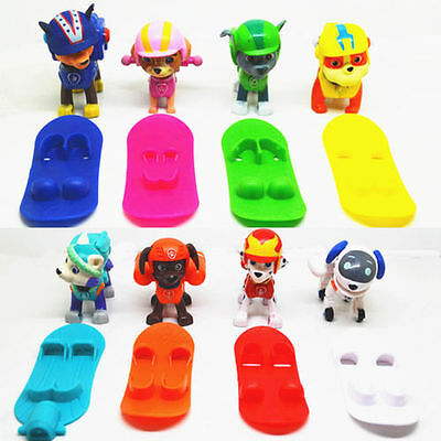 8pcs Fun Cute Paw Patrol Dog Figures Backpack Projectile+Snowboard Kids Toy Gift