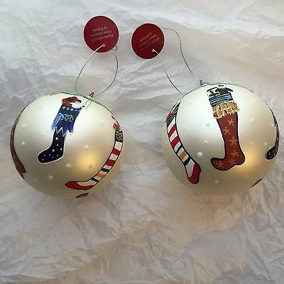"""Pair of """"Home for the Holidays"""" CHRISTMAS ORNAMENT ~ Glass ~ Stockings ~ Poland"""