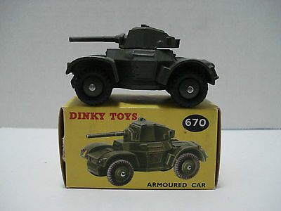 Dinky Daimler Armored Military Car # 670-G Made In England 1954 With Box