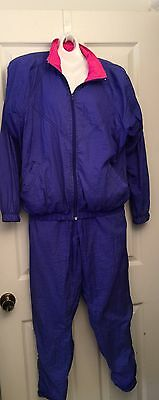 NIKE Track Jogging Suit 80's 90's HIP HOP Jogger Purple Women's Large Petite