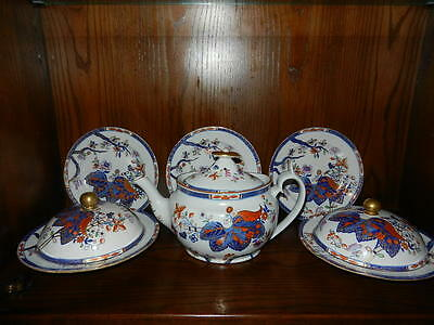 Antique Spode Teapot,2 Covered Dishes, 3 Plates 2061#