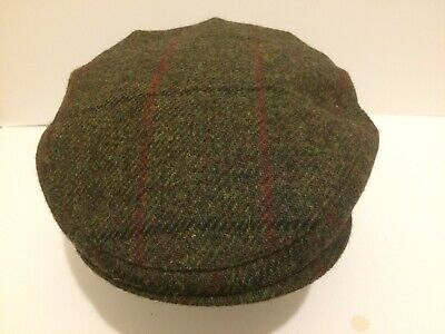 Green Fleck Red Harris Tweed Flat Cap Driving Hat Scots Bunnit From Scotland