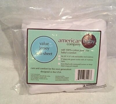 American Baby Company 100% Cotton Jersey Crib Sheet, White, unisex *NEW*
