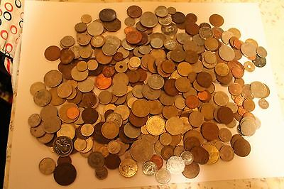 Foreign Coins Large Collection Of Over 300 - Mixture of Copper & Silver Coins