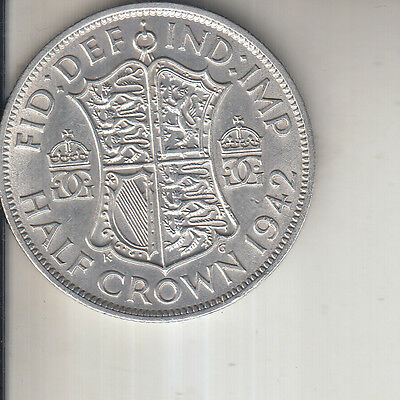 1942 KING GEORGE VI SILVER HALF CROWN WWII COIN 75TH BIRTHDAY Quality Condition