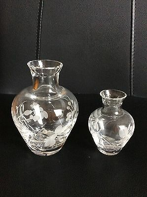 Pair Of Glass Vases Patterned With Flowers
