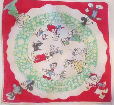 VINTAGE 1950's DISNEY CHILD HANKIE with MICKY & MINNIE MOUSE, DOOPY, DONALD DUCK