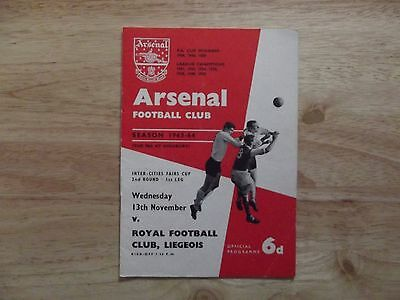 Arsenal v R.F.C. Liege Inter-Cities Fairs Cup 13/11/63
