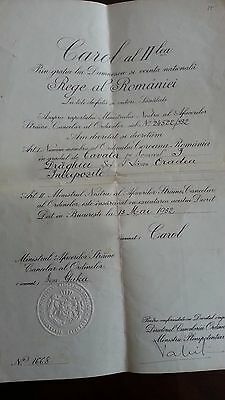 Romania  Document- Decret / Brevet for Order of Crown Knight Class 1932 Carol II