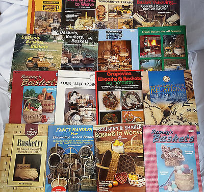 Mixed lot of 17 Basket Weaving Books & Pattern Brochures 1980's & 90's