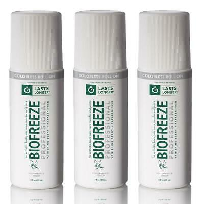 NEW Biofreeze Colorless Cold Therapy Pain Relief Biofreeze® Roll-On 3oz. - 3Pack