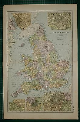 1905 Antique Map ~ England & Wales Manchester London Birmingham Environs