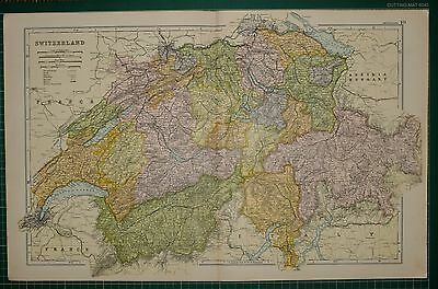 1905 Antique Map ~ Switzerland ~ Vaud Geneva Grisons Bern Basel