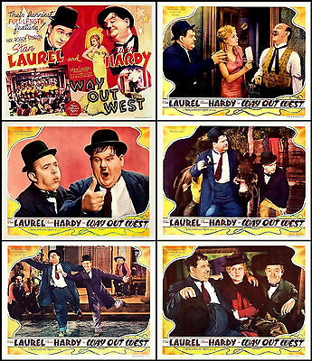 LAUREL And HARDY In WAY OUT WEST Lot Set Of 6 Individual 11x14 LC Prints 1937