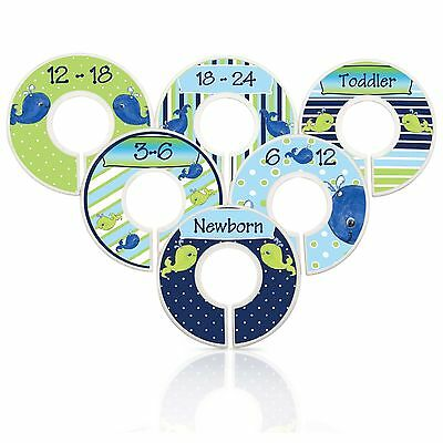 Baby Boy Closet Dividers Nautical Nursery Whales Boy Clothes Organizers NavyLime