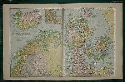 1905 Antique Map ~ Norway & Sweden Iceland Copenhagen Plan Denmark Jutland