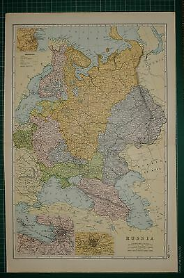 1905 Antique Map ~ Russia St Petersburg Moscow Crimea Poland Finland Perm