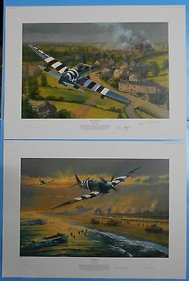 2 aviation prints. D-Day.Bridge Busters and Juno Beach by Anthony Saunders.