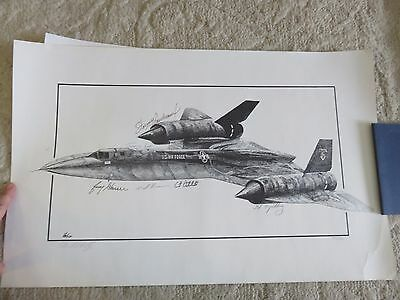 Signed Ed Walby Lithograph 249/1500 SR-71 signed by Boudreau Lee Yielding RARE
