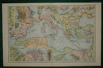 1905 Antique Map ~ Mediterranean Sea Turkey Algeria Italy Greece Cyprus Malta