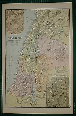 1905 Antique Map ~ Palestine Jerusalem Plan ~ Judaea Samaria Galilee