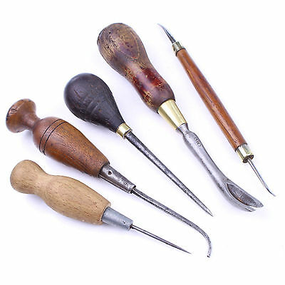 5 LEATHER WORKERS tools, Awls, old tools