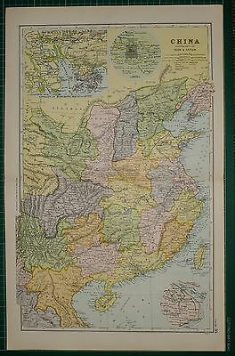 1905 Antique Map ~ China Hong Kong Macao Canton Peking Shang Hai Szechuan