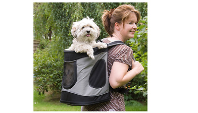 Trixie Timon Dog Rucksack, Dog Carrier Backpack,  Black/Grey, 34x44x30cm
