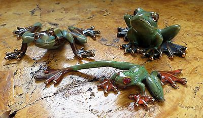 Golden Pond Collection 3 Ceramic frogs Beautiful detail, hand crafted Gorgeous