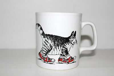Vintage B KLIBAN Walking Cat with Red Sneakers Coffee Mug Staffordshire England