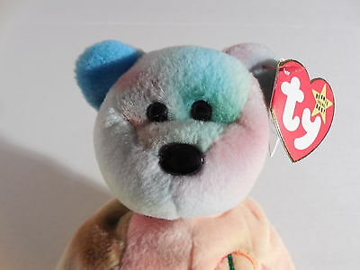 33065e10553 TY Beanie Babies Peace Bear 4053 PVC Pellets 4th Gen Hang Tag - 5th Gen Tush