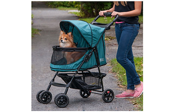 Pet Gear Happy Trails No-Zip Pet Stroller, Cat Dog Pram, Emerald Green