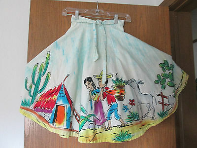 """Vintage 50s Skirt  Circle Wrap Hand Painted Mexican Novelty Border W--22"""""""