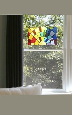 "River of Goods 12""H Tiffany Style Stained Glass Rays of Sunshine Window Panel"
