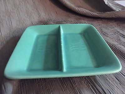 Vintage STANGL USA Aqua Blue Green Serving Candy Dish Divided Pottery Tray Plate